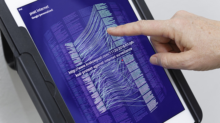 'Post internet' detail from 'Re:search- Terms of Art', a series of data visualisations and interactive iPad exhibited at the Hacking Habitat exhibition, Utrecht, NL (2016). Concept/research: Renée Ridgway. Design: Richard Vijgen. Photo credit: Thomas Lenden